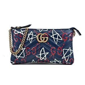 Gucci Marmont Ghost Print Mini Chain Leather Bag